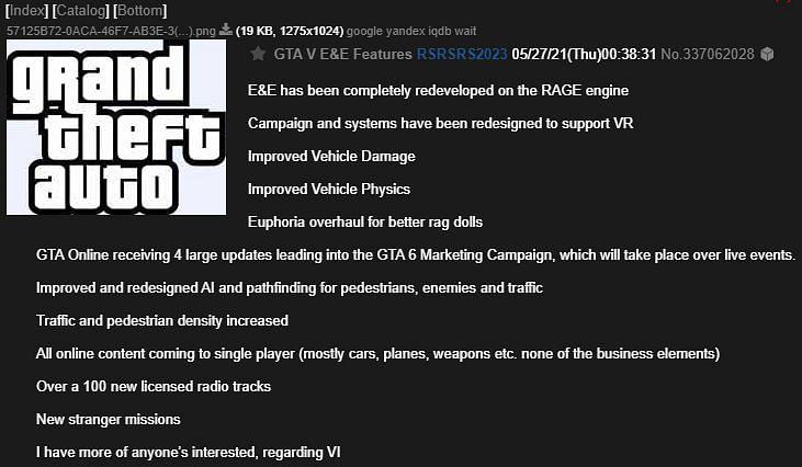 Rockstar Games a révélé peu ou pas d'informations sur la version de nouvelle génération de GTA 5, à part la date de sortie (Image via imgur)