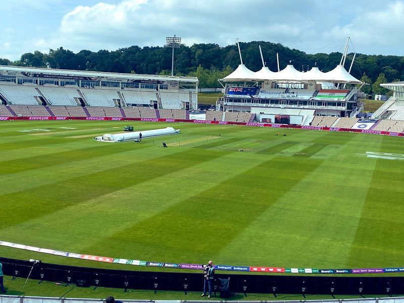 The playing surface for the India vs. New Zealand clash is visible in the background.