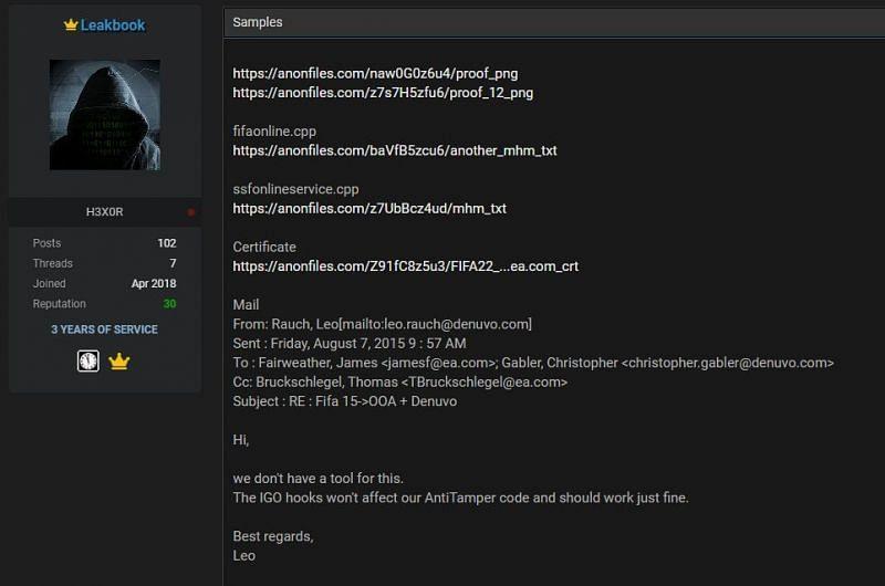A displayed screenshot of FIFA 21's stolen codes (Screengrab via Raid Forum)