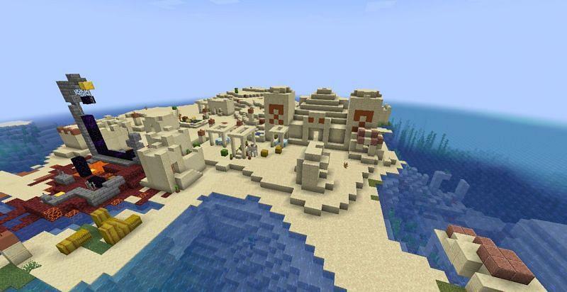 Desert village with a pyramid (Image via Minecraft)