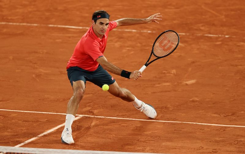 Roger Federer in action at the 2021 French Open