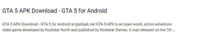 A fake link promoting players to download GTA 5 on their smartphones