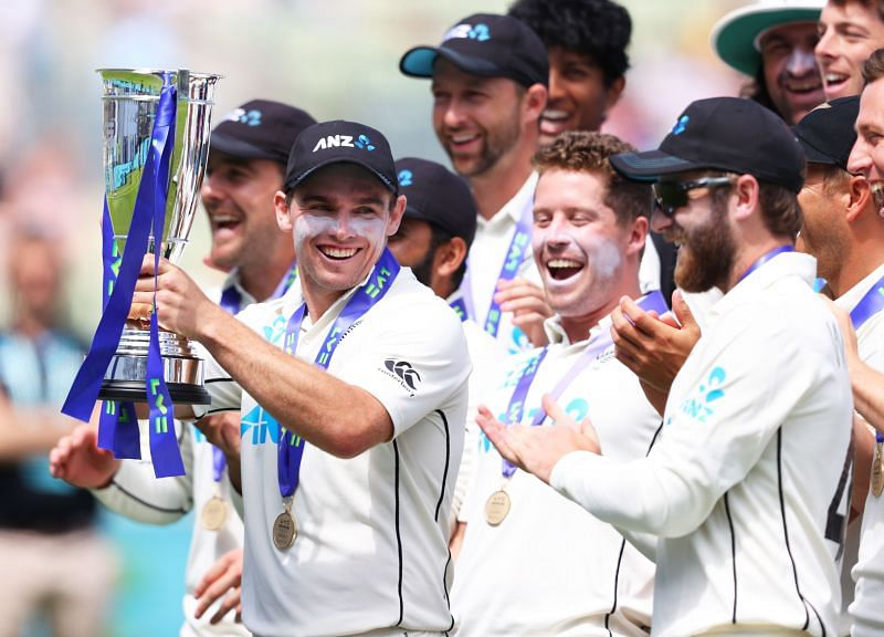 New Zealand cricketers celebrate their Test series triumph in England.