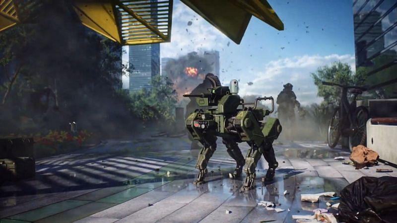 Battlefield 2042 futuristic robot companion (Image via Battlefield)