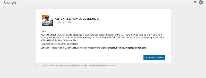 Android users can become testers for Battlegrounds Mobile India