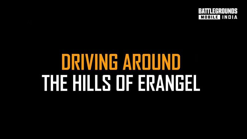 """""""Driving around the hills of Erangel"""" text appears in the video"""