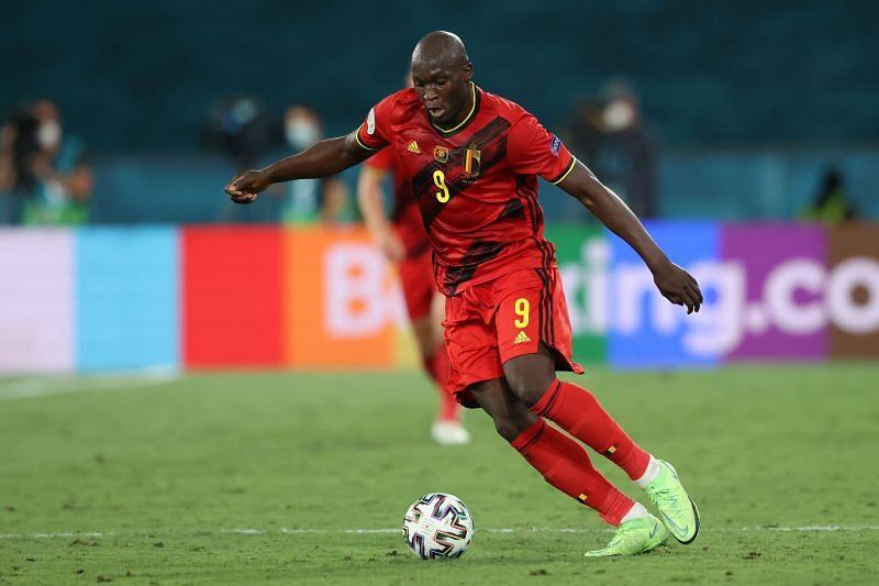 Romelu Lukaku in action for Belgium against Portugal