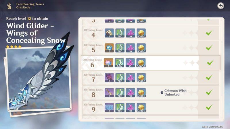 Frostbearing Tree rewards (image via Genshin Impact)