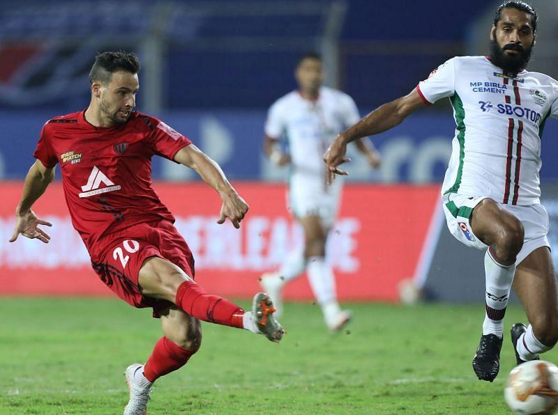 Luis Machado in action for NorthEast United FC against ATK Mohun Bagan in the last season of ISL