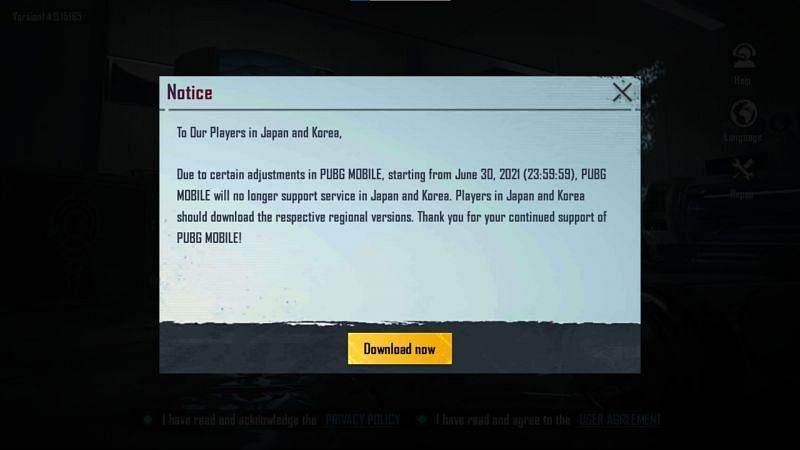 사용자가 한국어 버전의 게임에 로그인하려고하면 알림이 표시됩니다.