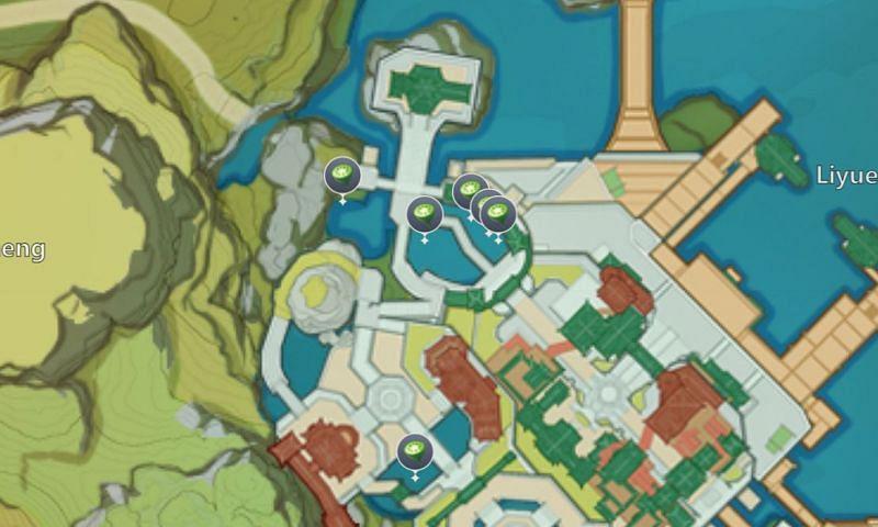 Lotus Head locations in Liyue Harbor (image via miHoYo)