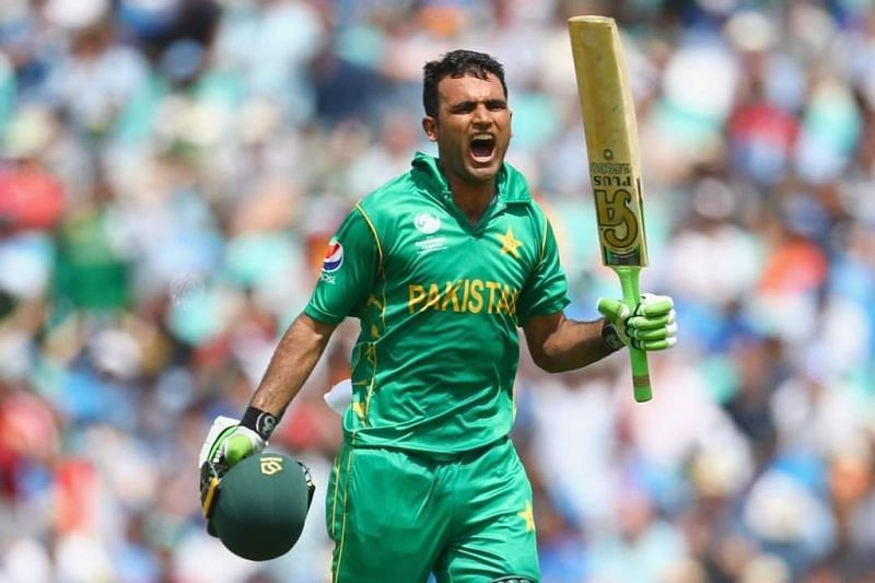 Fakhar Zaman celebrates his fabulous hundred in the 2017 Champions Trophy final. Pic: Fakhar Zaman/ Twitter