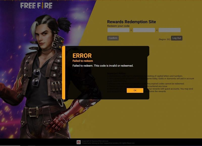 After the redeem code has expired, this error will be displayed