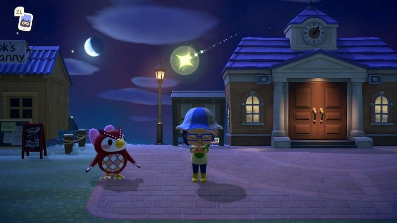 Shooting stars occur between 7:00 p.m. to 4:00 a.m. (Image via Animal Crossing world)
