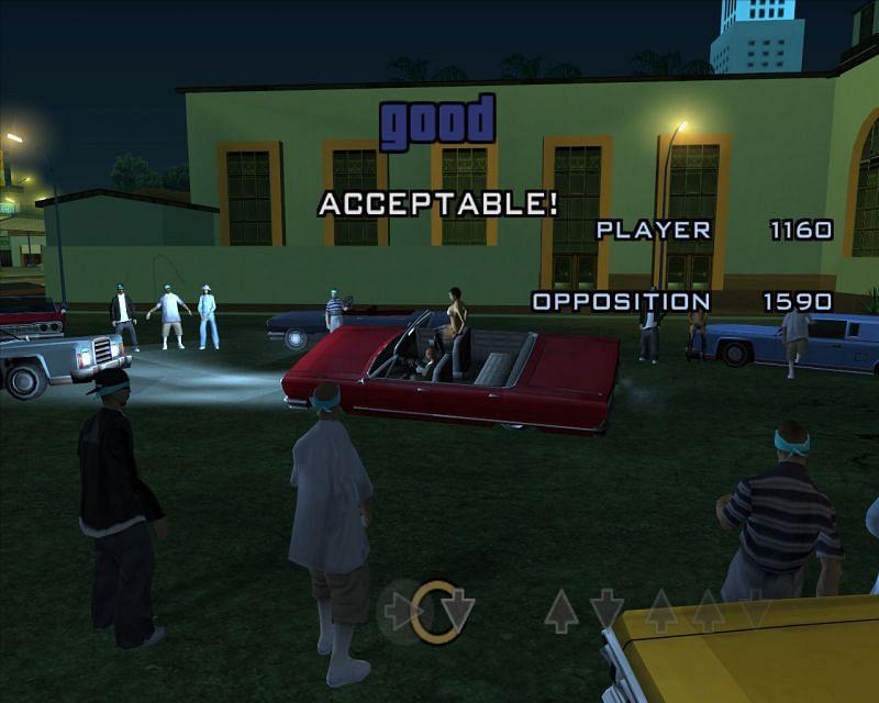 The Lowrider Challenge in GTA San Andreas uses hydraulics (Image via GTA Wiki)