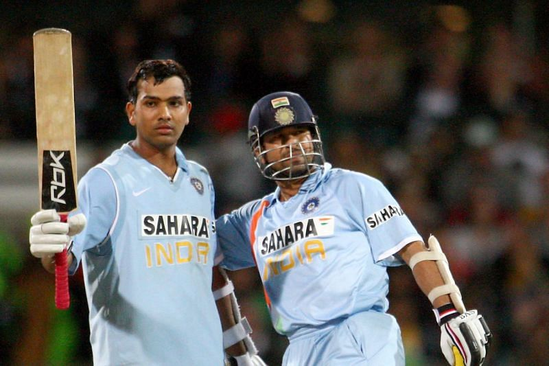 Rohit Sharma (left) and Sachin Tendulkar during the 2007-08 Australia tour. (Photo: Twitter)