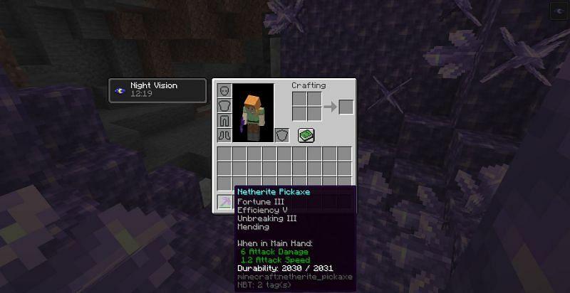 Enchanted pickaxe (Image via Minecraft)
