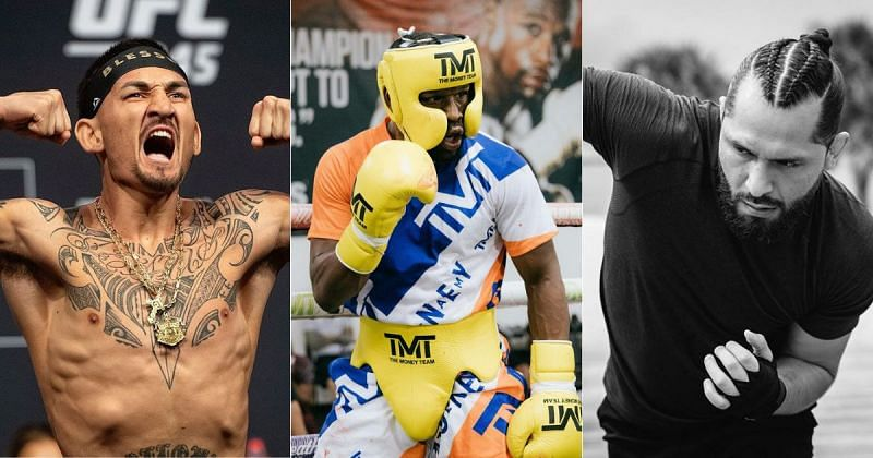 Max Holloway, Floyd Mayweather and Jorge Masvidal (from left to right)