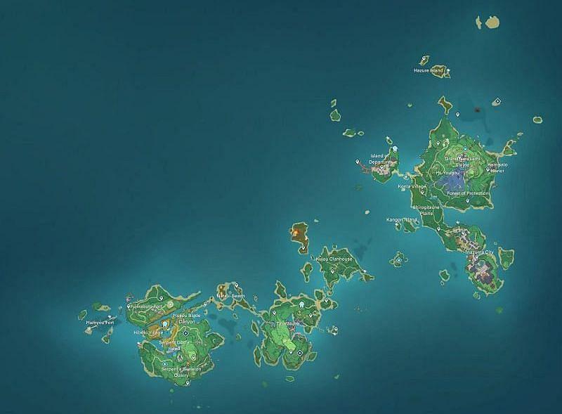 Leaked Inazuma map (image via Genshin Intel)