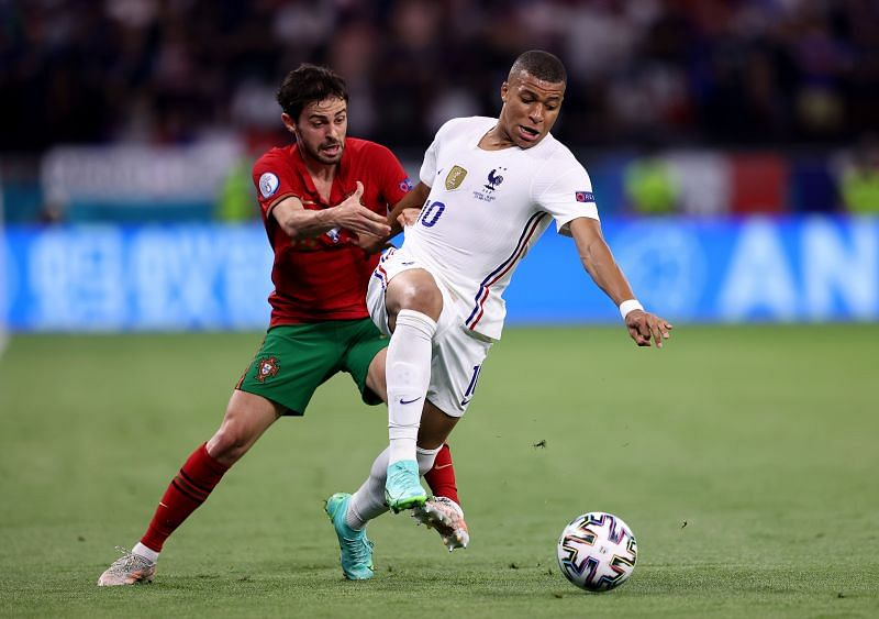 Kylian Mbappe in action for France against Portugal in a Euro 2020 Group F clash
