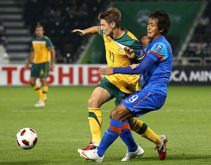 Gouramangi Singh of the Indian Football Team in action against Australia in the 2011 AFC Asian Cup (Photo by Robert Cianflone/Getty Images)