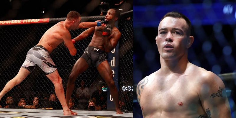 Nate Diaz punching Leon Edwards (Left) and Colby Covington (Right)