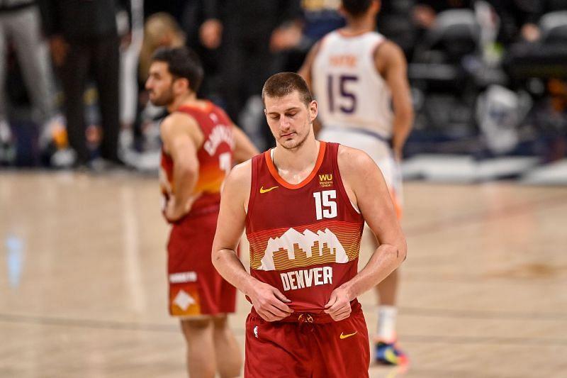 Nikola Jokic #15 of the Denver Nuggets.
