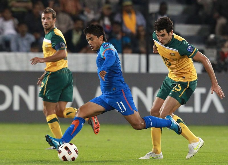 File photo of Suni Chhetri in action for the Indian football team
