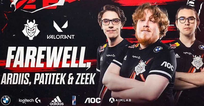 G2 Esports bids farewell to ardiis, paTiTek, and zeek from the Valorant roster (Image by G2 Esports)