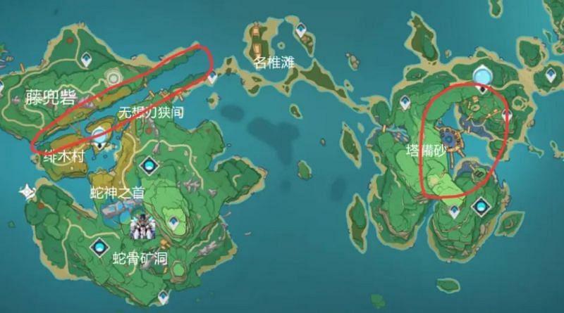 Dangerous areas in Inazuma (image via TZ)