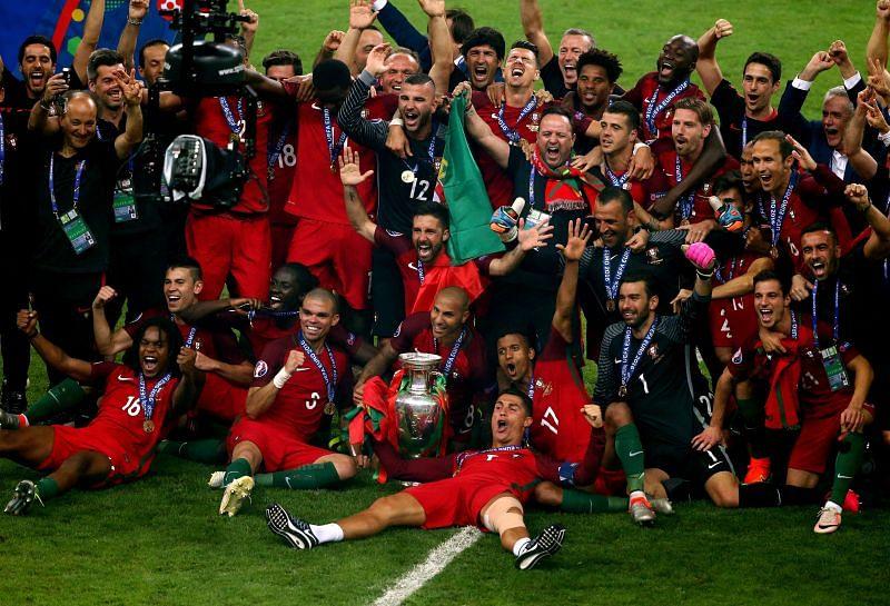 Portugal celebrate their UEFA Euro 2016 triumph.