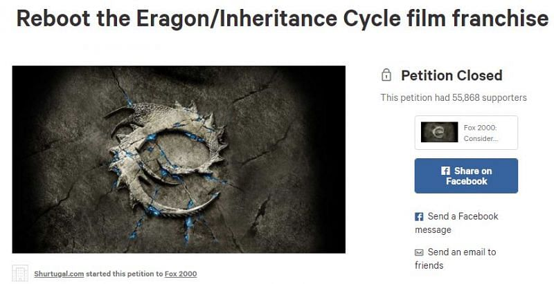 Eragon reboot campaign by Shurtugal.com in 2015. Image via: Change.org