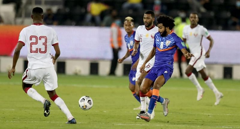 Indian Football Team's Glan Martins in action against Qatar in 2022 FIFA World Cup Qualifiers