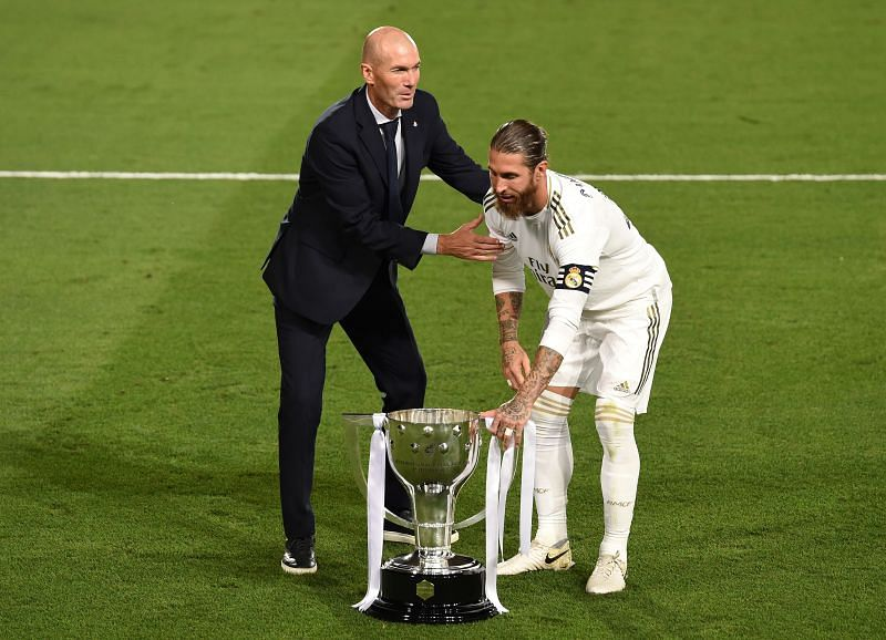 Zidane and Ramos with Real Madrid's 2019-20 La Liga title (Photo by Denis Doyle/Getty Images)