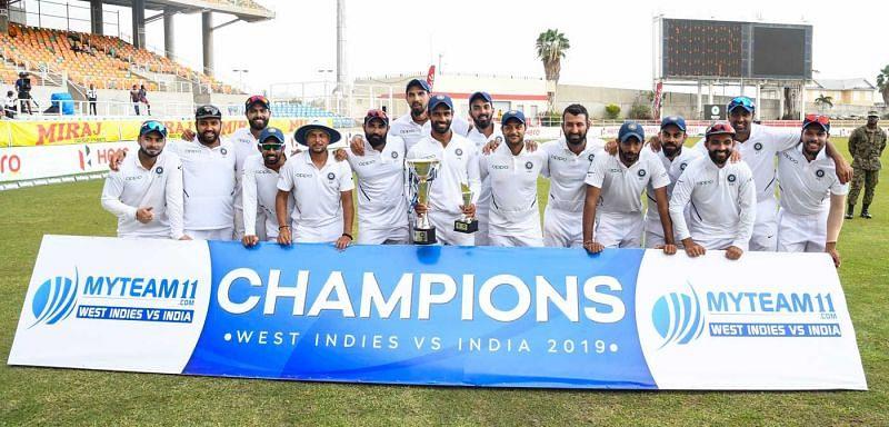 वेस्टइंडीज को 2-0 से हराने के बाद भारतीय टीम