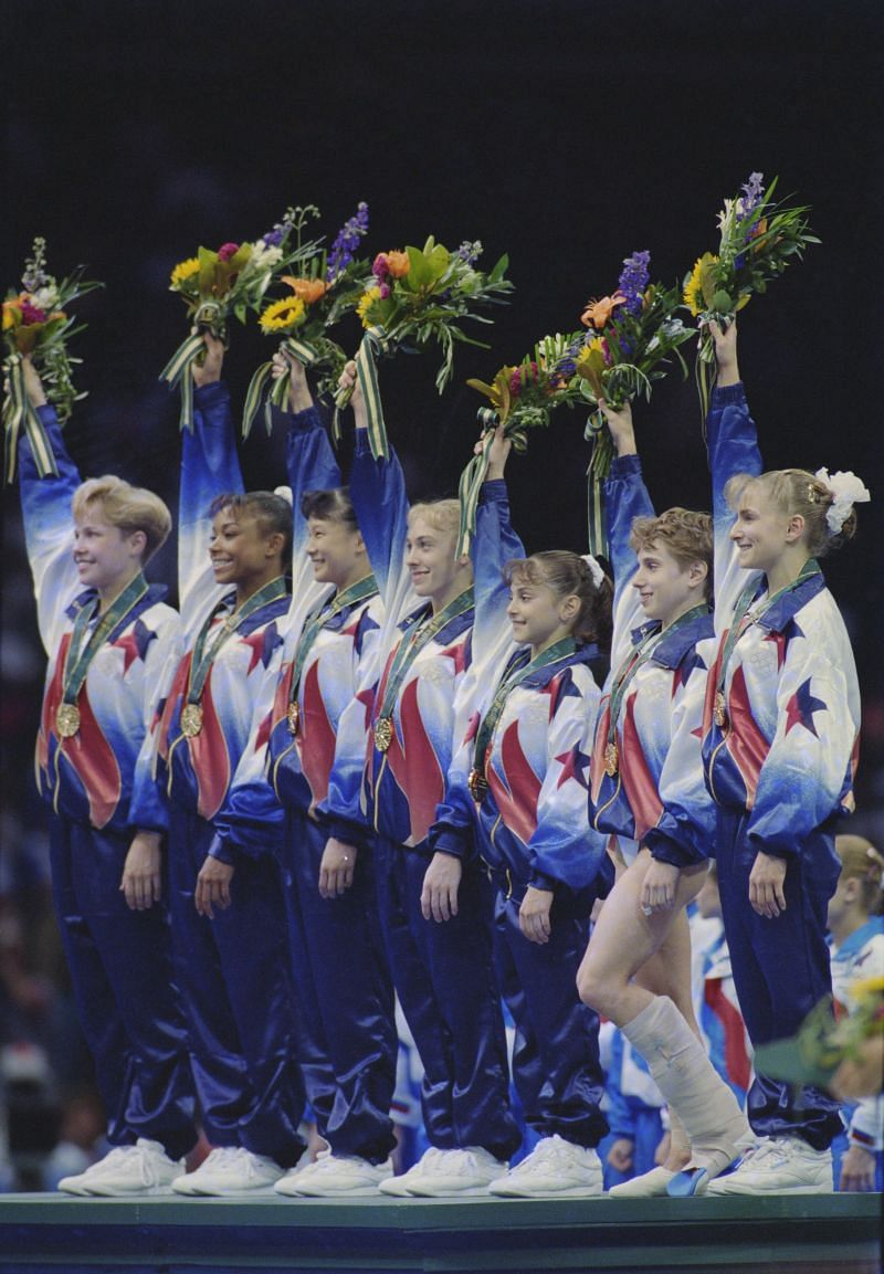 Dominique Moceanu fifth from left at the 1996 Summer Games