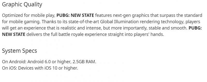 System requirements of PUBG New State Mobile (Image via Reddit /r/PUBGNEWSTATE)