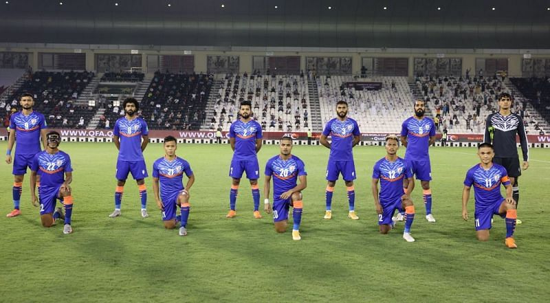 Indian Football Team with Sunil Chhetri in the bottom right poses before their match against Sunil Chhetri