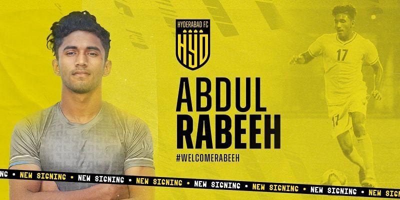 Abdul Rabeeh joins ISL side Hyderabad FC (Image Courtesy: Hyderabad FC Twitter)