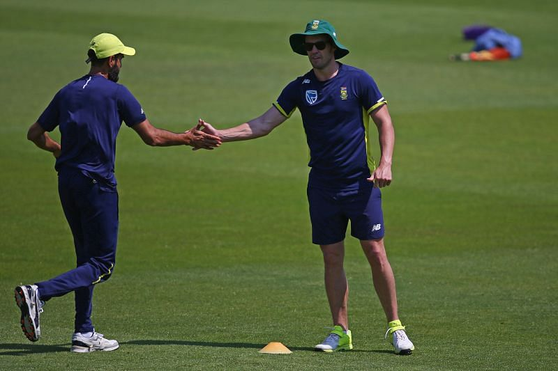 Imran Tahir and AB de Villiers. Pic: Getty Images