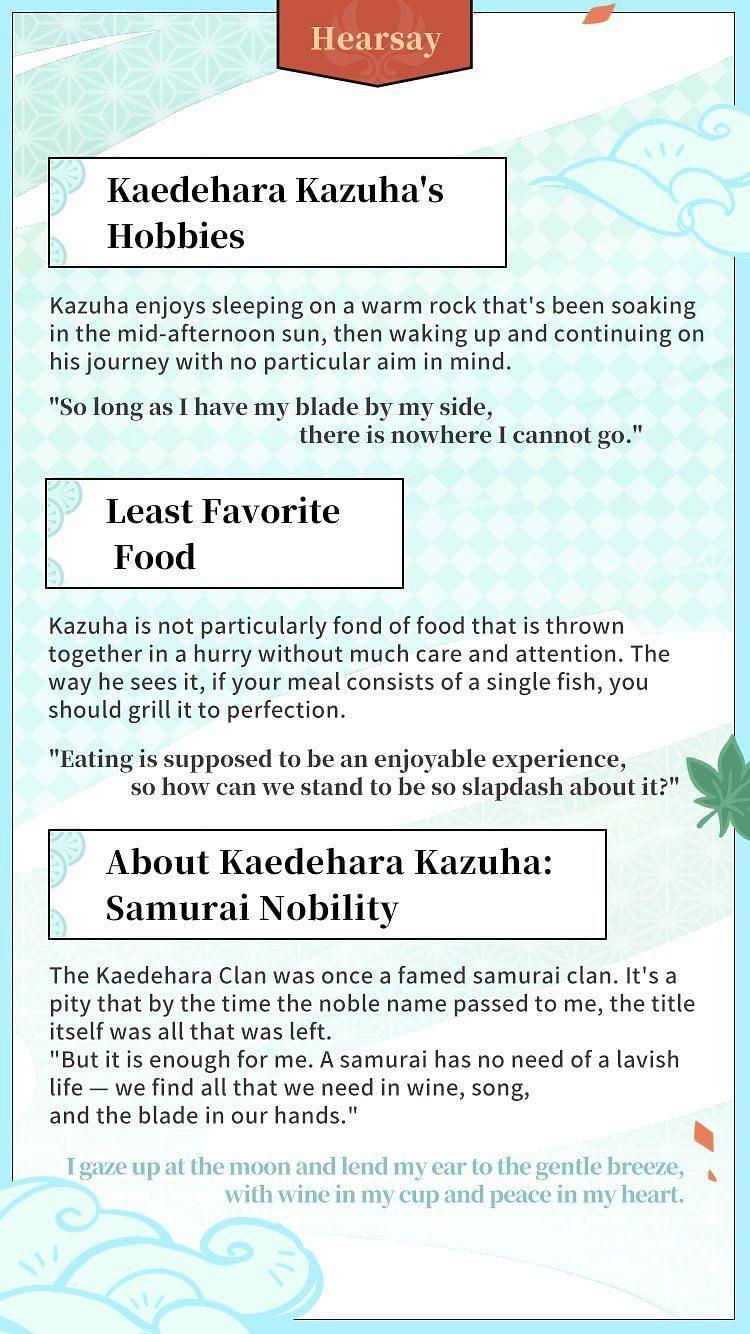 Official Genshin Impact details about the Kaedehara Clan at the bottom (Image via Genshin Impact)