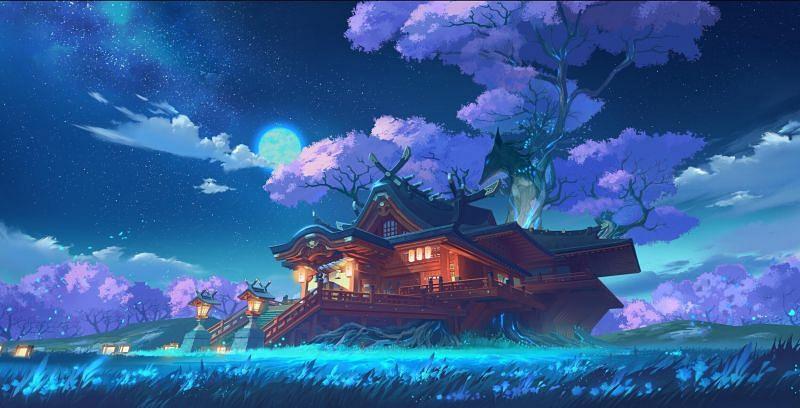 The Narukami Shrine in Inazuma (Image via Genshin Impact)