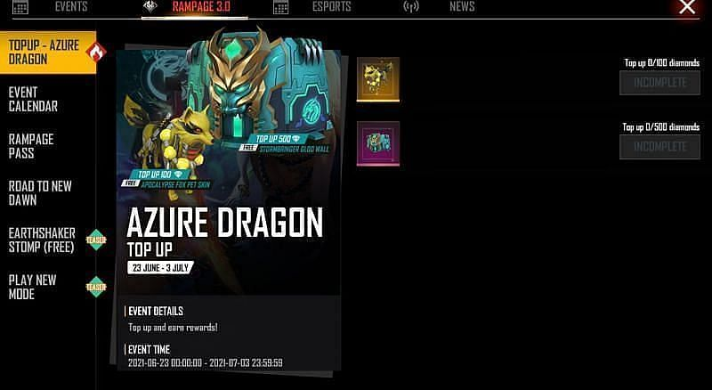 TOP UP - AZURE DRAGON in the Rampage 3.0 section in Free Fire