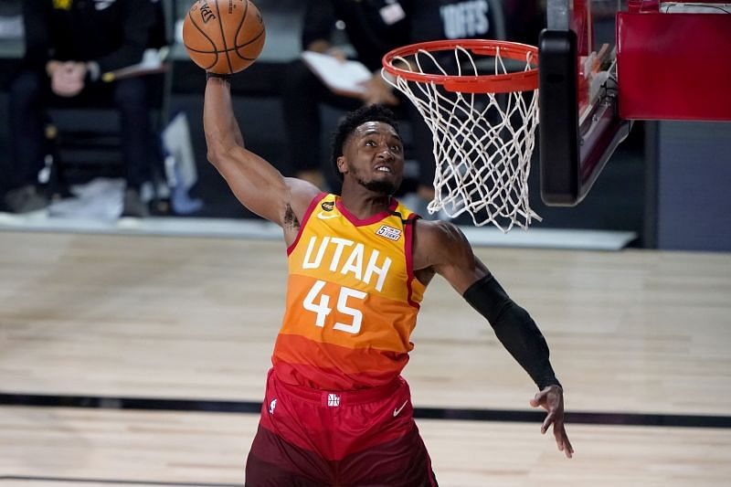 Donovan Mitchell of the Utah Jazz against the Denver Nuggets