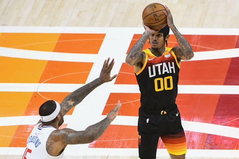 Jordan Clarkson attempts a three-pointer