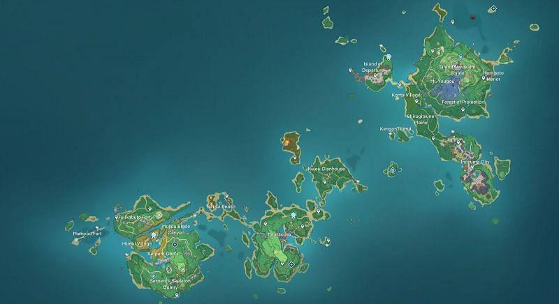 New Genshin Impact 2.0 leak reveals Inazuma map (Image via Genshin Impact info and updates)