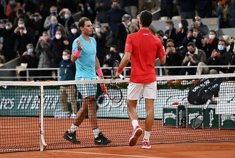 Rafael Nadal after beating Novak Djokovic in the 2020 Roland Garros final