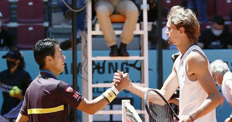 Kei Nishikori against Alexander Zverev in the 2021 Madrid Open