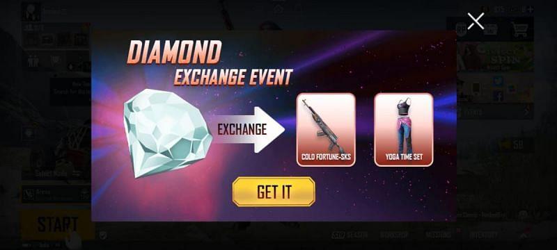 Exchange Diamonds to get the SKS skin (Image via BGMI)