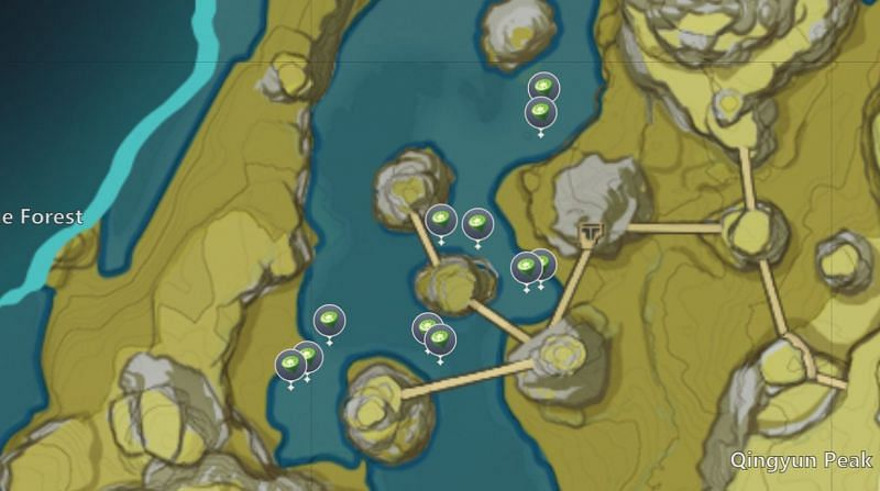 Lotus Head locations in Huaguang Stone Forest (image via miHoYo)